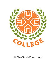 Round abstract vector logo for college