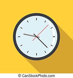 Round analog clock face icon, flat style