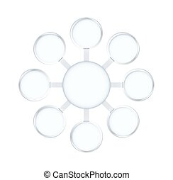 Round and circle star diagram frame template with silver color. vector illustration.