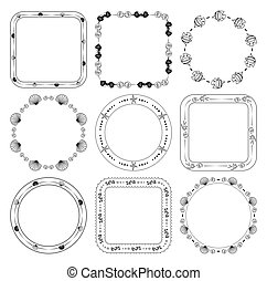 round and quadrate frames with fish and seashells - vector marine set
