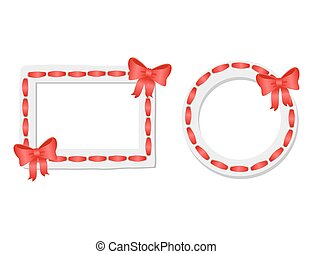 Round and Rectangular Frames with Red Tape and Bow