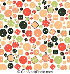 round and square buttons seamless vector pattern