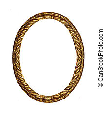 Round antique gold picture frame.