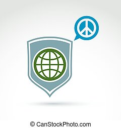 Round antiwar vector icon, green planet on a shield and speech bubble with peace sign. Save the world and global peace vector icon.