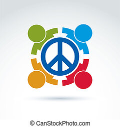 Round antiwar vector icon, no war symbol. People of all nationalities of the world cooperating for peace. Conceptual international peace sign from 60th.