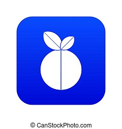 Round apple icon digital blue