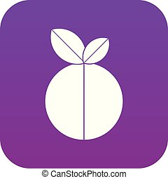 Round apple icon digital purple