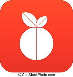 Round apple icon digital red