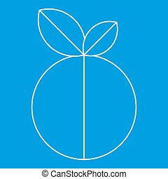Round apple icon, outline style