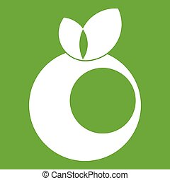 Round apple with leaves icon green