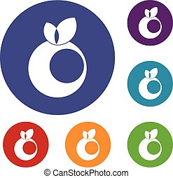 Round apple with leaves icons set