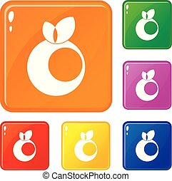 Round apple with leaves icons set vector color