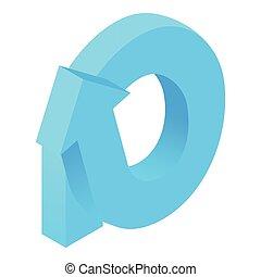 Round arrow icon, cartoon style