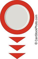 Round arrow icon, flat style.
