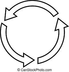 Round arrow sign icon on white background