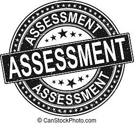 ROUND assessment. stamp sticker seal round grunge vintage ribbon assessment sign