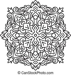 Round asymmetrical decorative element - lace mandala in zentangle style. Stylized vector flower for design or tattoo.