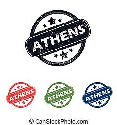 Round Athens city stamp set