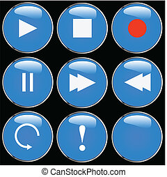 Round Audio Buttons Blue