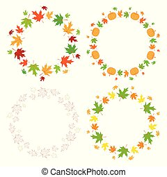 round autumn frames with maple leaves and pumpkins - vector set