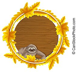 Round autumn leaves banner template with a sloth cartoon character