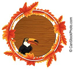 Round autumn leaves banner template with a toucan cartoon character