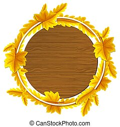 Round autumn leaves frame template