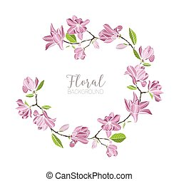 Round background, border or frame made of branches with tender pink blooming magnolia flowers and green leaves. Beautiful circular floral decoration or wreath. Hand drawn vector illustration.