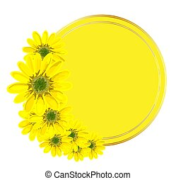 round background for an inscription. Yellow pattern with flowers. Design for advertising or promotions, sales. Spring flowers. illustration isolated on a white background. Frame..