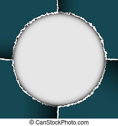 Round background of torn paper. Vector eps10