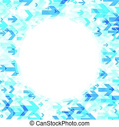 Round background with blue arrows.