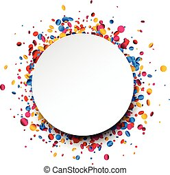 Festive white round background with colorful glossy confetti. Vector illustration.