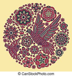 Round background with flowers and birds. Vector illustration