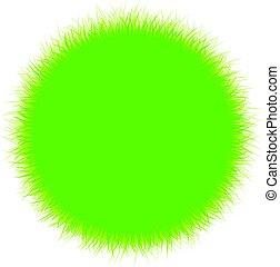 Round background with green grass.