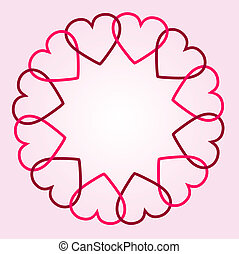 Round background with hearts