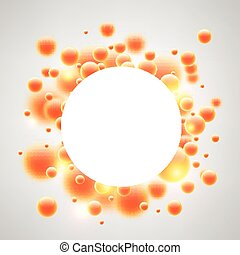 Round background with orange 3d bubbles. - Abstract round...