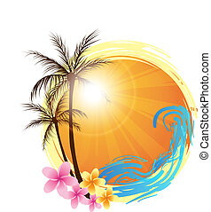 Round background with palm trees - Round banner with palms...