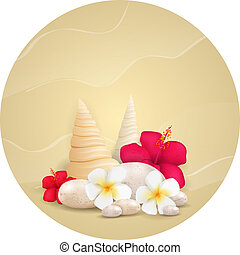 Round background with pebbles and tropical flowers