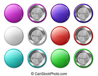 Round badge mockup. Realistic metal labels design template, plastic glossy circle tags, multicolor buttons and pins. Vector badges set