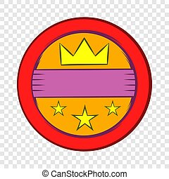 Round badge with crown and stars icon