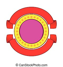 Round badge with red ribbons icon, cartoon style