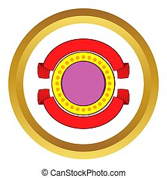 Round badge with red ribbons icon
