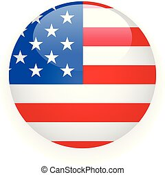 Round badge with USA flag on white background