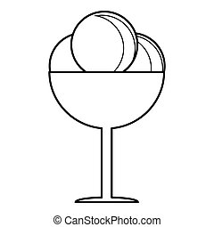 Round balls of ice cream in cup icon