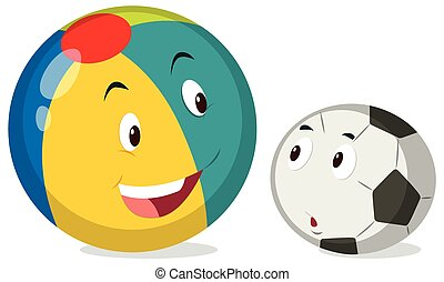 Round balls with happy face