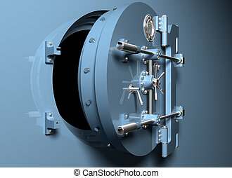 Round bank vault door - Illustration of a round bank vault...