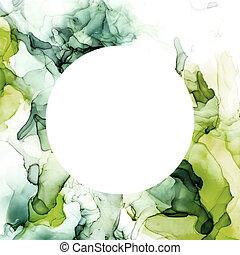 Round banner, green shades watercolor background, wet liquid