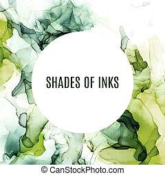 Round banner, green shades wet ink background