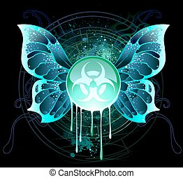 round glass banner with a symbol of the biological danger, drawn with bright acid paints on a black background.