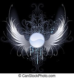 round banner with angel wings - round blue banner with...